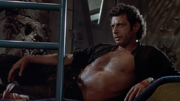 "Jeff Goldblum in that ""Jurassic Park"" shirtless moment."