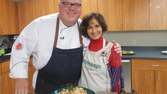 Chef Greg Grisanti and Rita Heikenfeld prepare Super Bowl treats.