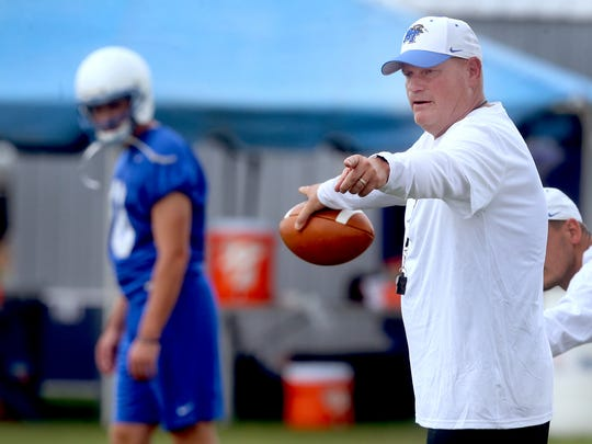 MTSU's new Defensive Coordinator/Safeties Coach Scott Shafer works with players during practice Aug. 1, 2017.