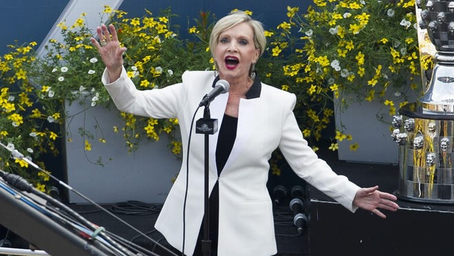 """Florence Henderson, seen performing """"God Bless America"""" before the 2015 Indianapolis 500, will serve as grand marshal of this year's race."""
