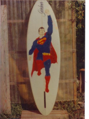 Bud Gardner's Superman surfboard was recently returned after being stolen 36 years ago. This photo was taken when it was new in 1981.