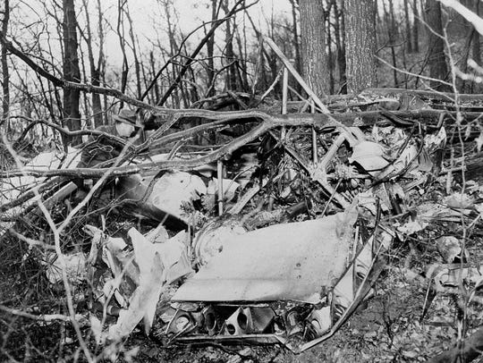 A forest ranger examines the wreckage of the twin-engined