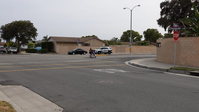 The intersection of Bard Road and Anchorage Street in Oxnard Sunday afternoon. Police found a homicide victim on the sidewalk in the general area early Sunday morning.