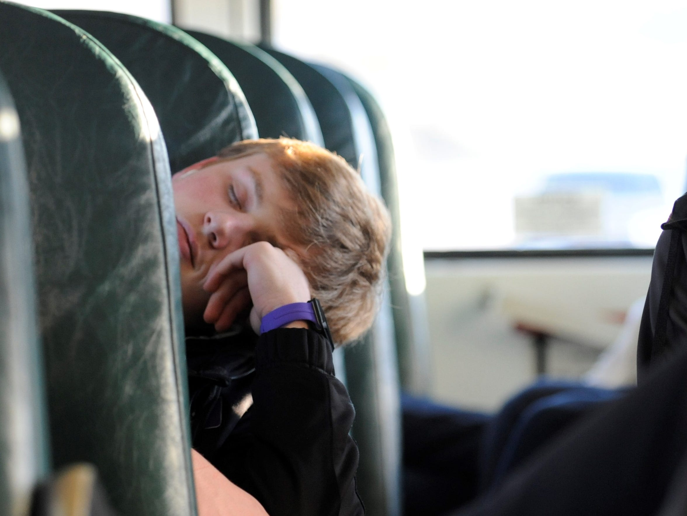 Unioto's Gunnar Greenwalt takes a short nap during