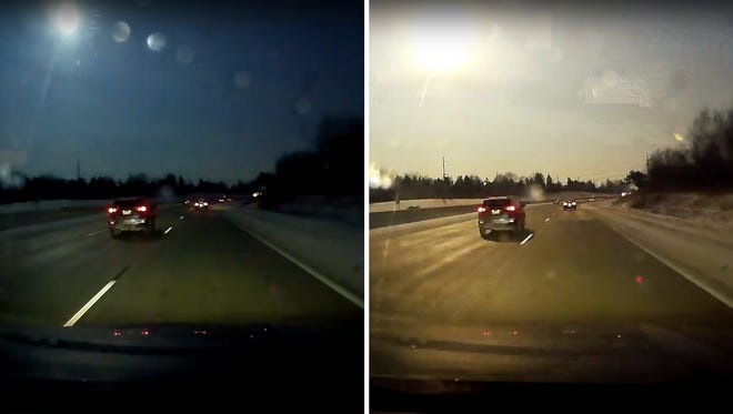 Screen grab of YouTube video courtesy of Mike Austin shows suspected meteor.