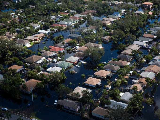 Aerial view of the flooded Quinn Street area in Bonita