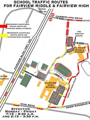 Traffic route for Fairview Middle and Fairview High School.