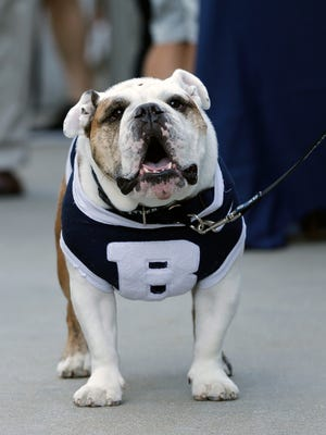 "The Butler mascot ""Butler Blue III"" sits outside the PNC Arena during a fan pregame tailgate event ahead of a first-round men's college basketball game in the NCAA Tournament between Butler and Texas Tech, Thursday, March 17."