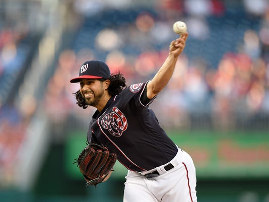 Washington Nationals starting pitcher Gio Gonzalez delivers during the first inning of a baseball game against the Miami Marlins, Friday, May 13, 2016, in Washington. (AP Photo/Nick Wass)