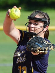 Maelynn Leber, seen here in a file photo, excelled at the plate and on the mound on Monday for Eastern York.