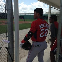 Yoan Moncada triples in Red Sox debut