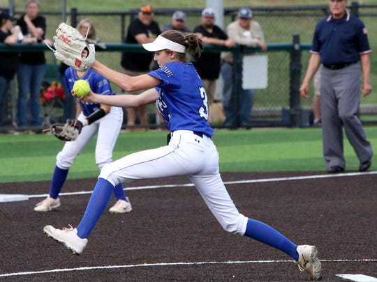 City View's Maddie Chalenburg pitches against Clyde in the first game of the Region I-3A bi-district area round series Thursday, May 3, 2018, in Iowa Park. Game 2 will be played at 8 p.m. at Abilene Christian.