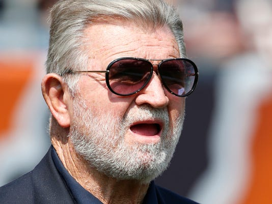 FILE - In this Sept. 10, 2017, file photo, former Chicago Bears head coach Mike Ditka watches from the sideline during the first half of an NFL football game between the Bears and the Atlanta Falcons, in Chicago. Ditka is apologizing for saying he wasn't aware of any racial oppression in the U.S. over the last 100 years. The famed former Chicago Bears coach issued the apology Tuesday, Oct. 10, 2017, a day after he made the comments during a radio interview while discussing National Football League players kneeling during the national anthem. (AP Photo/Nam Y. Huh, File)