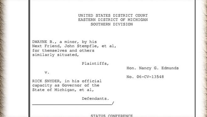 """A screen grab showing the covering page of the transcript of the June 8, 2017 hearing in the """"Dwayne B. v. Snyder"""" case in U.S. District Court in Detroit."""