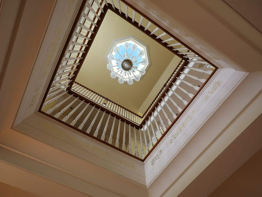 A view up toward the cupola at the home of Liz Taggart,