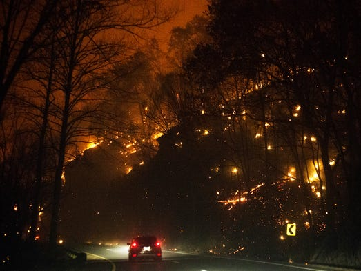 Wildfires erupt along Highway 441 on Monday, Nov. 28,
