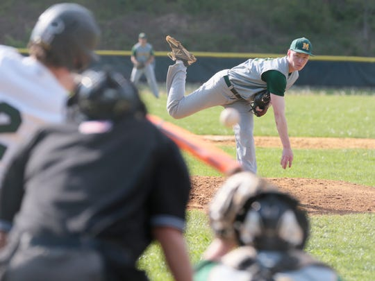 Montgomery's Matt Ryan pitches at Ridge in Bernards on April 26, 2016. (Keith Muccilli/ Staff photographer)