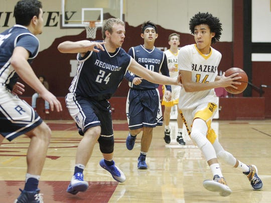 Golden West's Shemar Smith drives past Redwood's Drew Stogsdill during the championship game at the Polly Wilhelmsen Invitational.