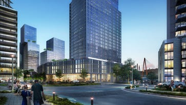 A plaza view of the River North Development District planned near downtown Nashville