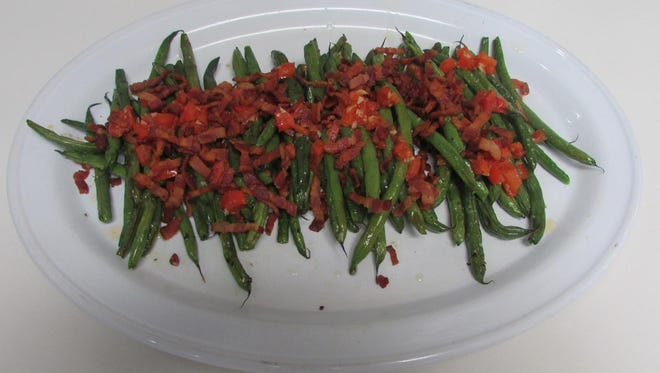 Roasted Green Beans with Crispy Bacon, Garlic & Tomatoes