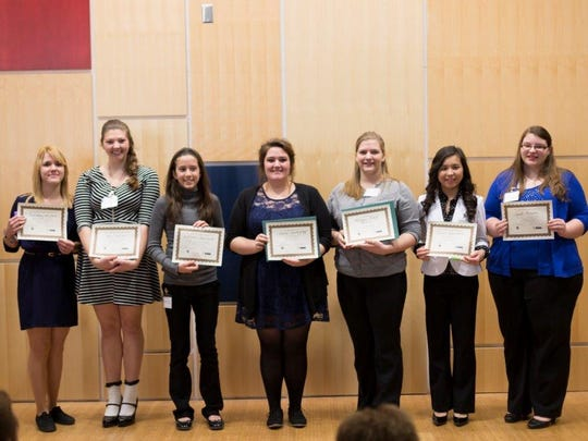 Seven students from across the Northern Tier participated in the regional Poetry Out Loud contest. Pictured are Lindsay Umstead, Ezoza Ismailova, Jena Kaelin, Areta Updegraff, Katherine Polakowski, Maggie Poost and Sarah Turner.