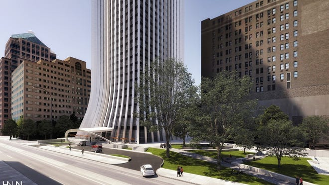 An exterior view of changes, including luxury apartments and condominiums, planned for Chase Tower.