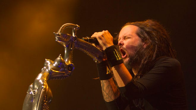 Jontahan Davis, leader and vocalist of the U.S. rock band Korn, performs at the concert in Monterrey, Mexico on April 21, 2016. Korn was scheduled to headline a performance in Cedar Rapids before the show was canceled due to flooding.