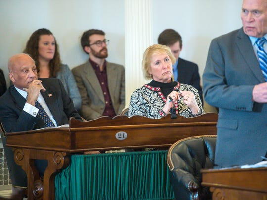 Sen. Randy Brock, from left, and Sen. Carolyn Branagan, Republicans from Franklin County, listen as Senator Dick Sear, D-Bennington, explains the marijuana legalization bill before the Senate voted in favor of the bill at the statehouse in Montpelier on Wednesday, January 10, 2018.