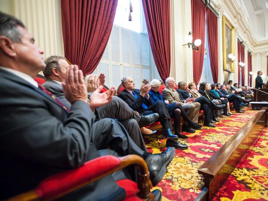 Some senators applaud as Gov. Phil Scott delivers his budget address to the Legislature at the Statehouse in Montpelier on Tuesday, January 23, 2018.