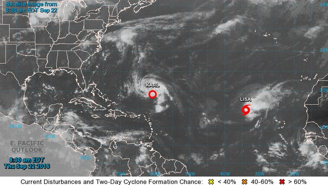 Tropical Depression Karl forecast to strengthen in Atlantic, according to the National Hurricane Center. The image was available on Thursday, Sept. 22, 2016 at 8:05 a.m.