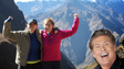 David Hasselhoff appears in this mountain photo. Google+ is no longer offering the Hoff photobomb option after its successful April Fool's Day joke.