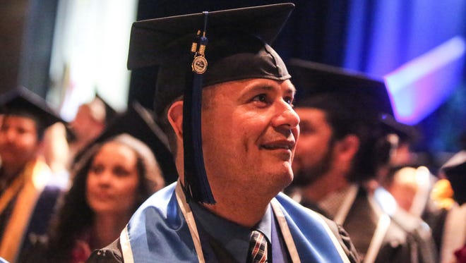 Edgar Rivera, of Indio, graduates with Cal State San Bernardino Palm Desert Campus' Class of 2017 to become a drug and alcohol counselor on Thursday, June 14, 2017 at The Show in Rancho Mirage. Rivera became addicted to drugs at the age of 16 and has been sober for 10 years.