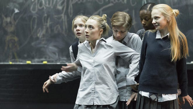 """From left, Elizabeth Teeter, Saoirse Ronan, Tavi Gevinson, Ashlei Sharpe Chestnut and Erin Wilhelmi during a performance of """"The Crucible""""  at the Walter Kerr Theatre in New York."""