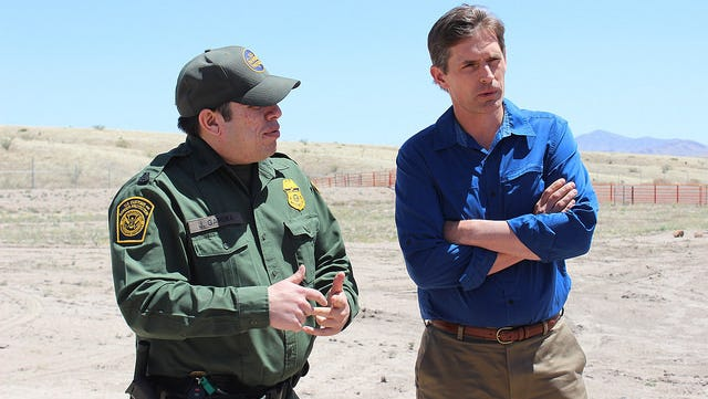 U.S. Border Patrol agent Jose Gardea and U.S. Senator Martin Heinrich (D-NM) look over an area of the boot heel region in Hidalgo County suspected  of a high volume of illegal activity. The Senator toured the border region in southwestern New Mexico on Sunday.
