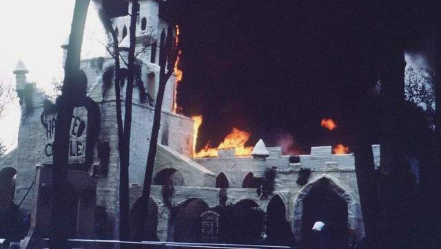 Flames leap from the roof of the Haunted Castle at Six Flags Great Adventure in Jackson on May 11, 1984, in this photo taken by John Fischetti.