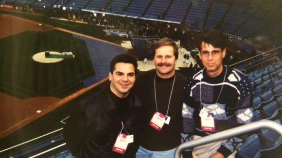 The three amigos - Jim Mandelaro, Scott Pitoniak and Matt Michael - before Game 1 of the 1999 World Series at old Yankee Stadium.