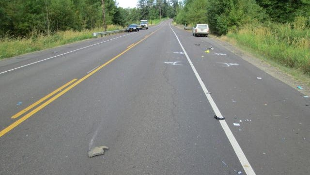 The scene of a fatal crash on Highway 211 between Molalla and Woodburn.