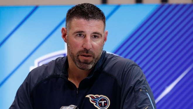 Tennessee Titans coach Mike Vrabel speaks to the media during the 2018 NFL Combine at the Indianapolis Convention Center.