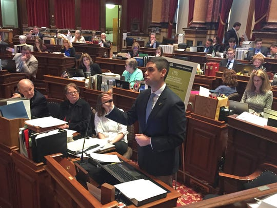 Sen. Nate Boulton, D-Des Moines, speaks Monday, March