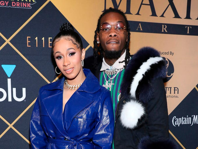Cardi B and Offset arrive at the Maxim Super Bowl Party