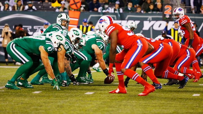 The New York Jets and Buffalo Bills line up during a game Nov. 12, 2015, in East Rutherford, New Jersey.