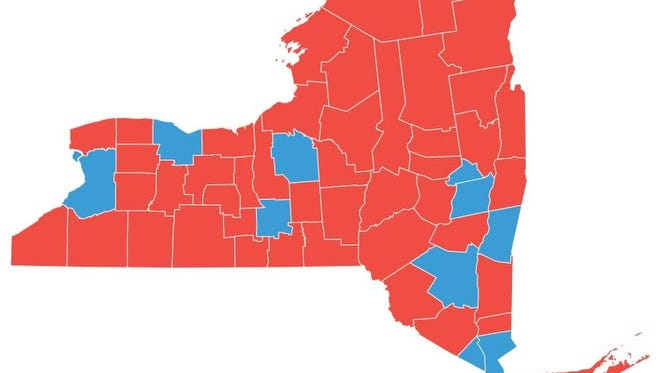 A map of how New York counties voted in the presidential election.