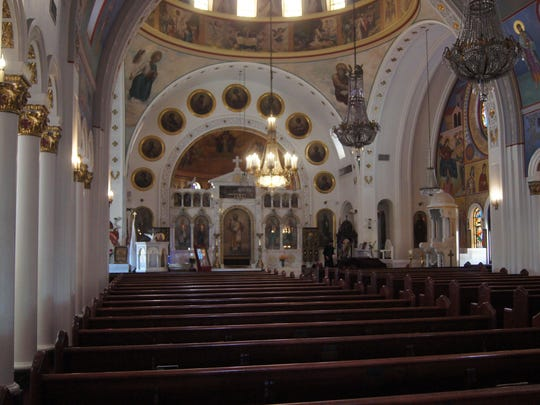 The majestic 1943 St. Nicholas Greek Orthodox Cathedral is one of the most celebrated Greek churches in the United States. It features Byzantine architecture, a centered dome, rich carvings, Greek marble and colorful stained glass windows.