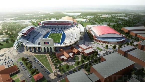 An artist's rendering of the new Vaught-Hemingway Stadium