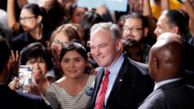 Democratic vice presidential candidate Sen. Tim Kaine, D-Va., greets supporters after speaking during a campaign stop, Thursday, Nov. 3, 2016, in Phoenix.