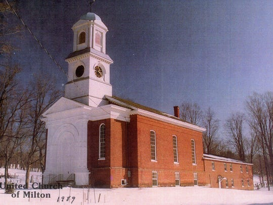 A modern view of the United Church of Milton taken in 1989. Notable differences from the 1897 souvenir flier photo are the steeple and the extension built onto the back of the church in the 1960s.