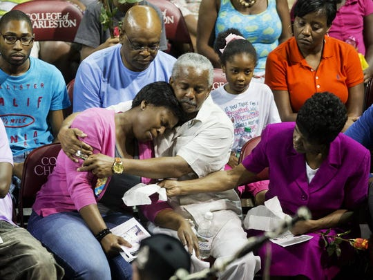 Families of the victims of a shooting at Emanuel AME