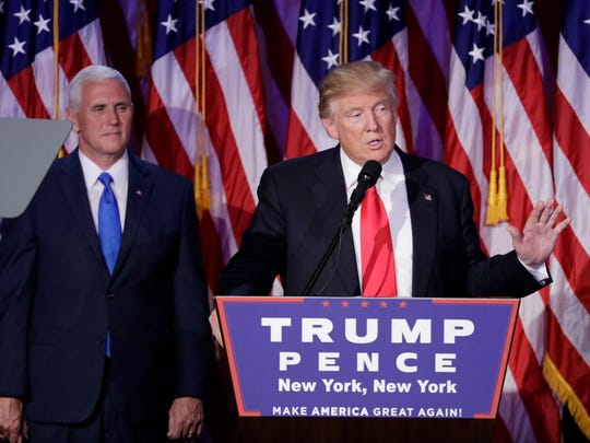 President-elect Donald Trump gives his acceptance speech Nov. 9, 2016, in New York. Trump's positions on abortion, the Supreme Court, the military and the safety of the United States appealed to Christian voters.