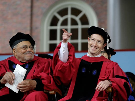 Facebook CEO and Harvard dropout Mark Zuckerberg, right,