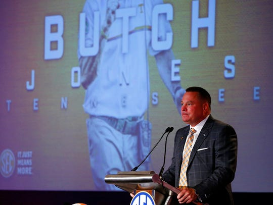 Tennessee football coach Butch Jones speaks during